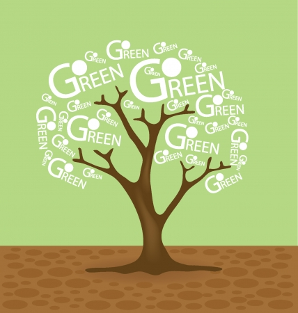 broad leaved tree: Go green concept, Tree vector illustration
