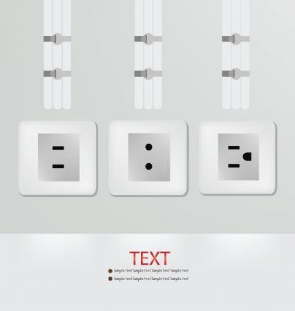 wall plug: Plug,  Empty wall vector illustration