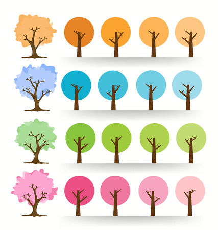 leaved: colorful tree vector illustration