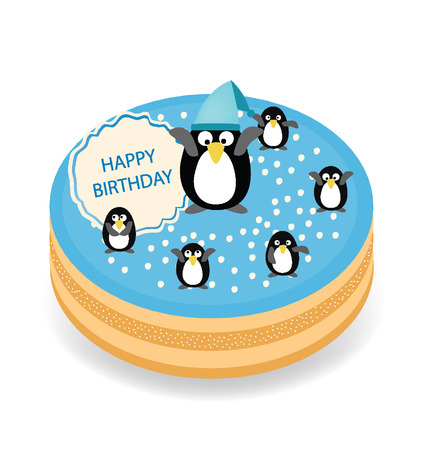 Happy birthday Penguin cake vector illustration Vector