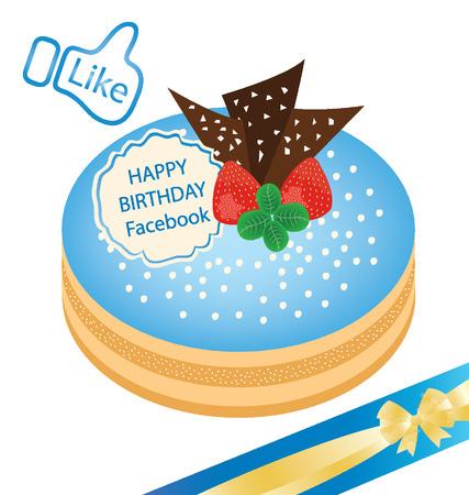 pastel feliz cumplea�os: Ilustraci�n de la torta del feliz cumplea�os vector Vectores