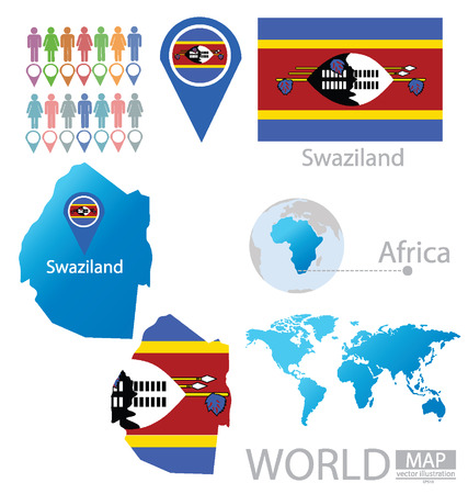 swaziland: Swaziland vector Illustration