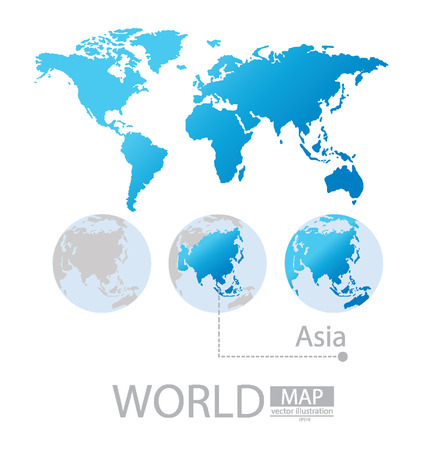 Asia World Map vector Illustration