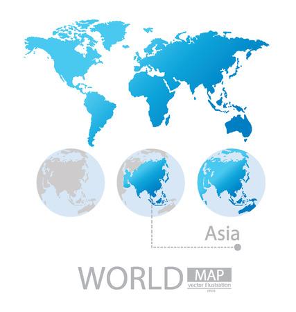 Asie Carte du monde vecteur Illustration