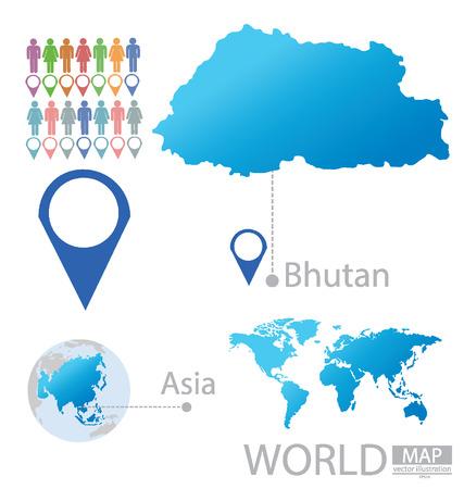 bhutan: Koninkrijk Bhutan vectorIllustratie Stock Illustratie