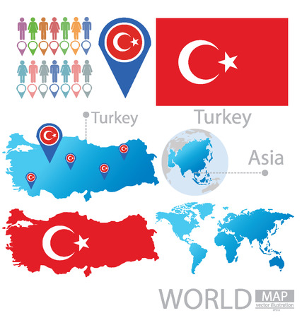 Republic of Turkey vector Illustration Illustration