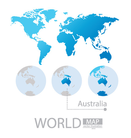 Australia, World Map vector Illustration Vector