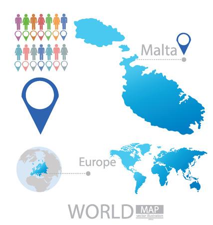 malta cities: Republic of Malta vector Illustration