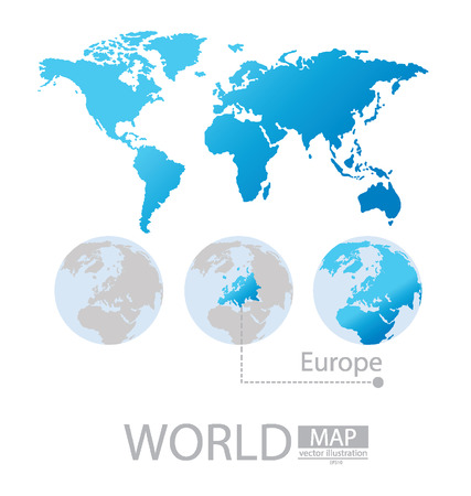 Europe, World Map vector Illustration Vector