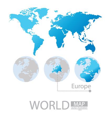 L'Europe, la carte du monde vecteur Illustration