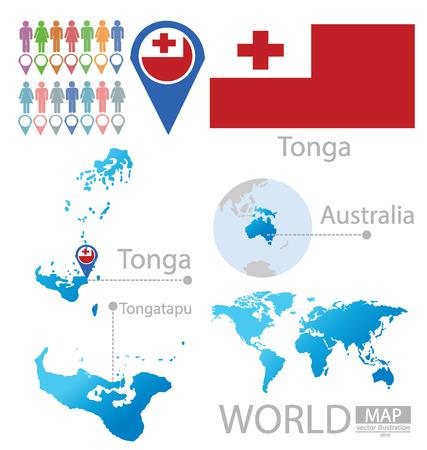 tonga: Kingdom of Tonga vector Illustration