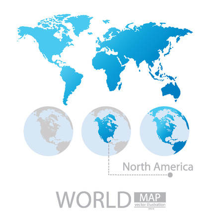 北アメリカ、世界地図のベクトル イラスト