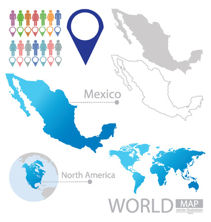 map pins: Mexico, United Mexican States vector Illustration Illustration