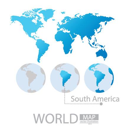 Amérique du Sud, Carte du monde vecteur Illustration Vecteurs