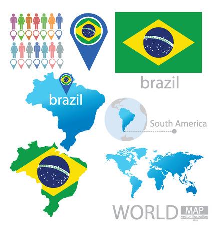 Федеративная Республика Бразилия векторные иллюстрации Иллюстрация