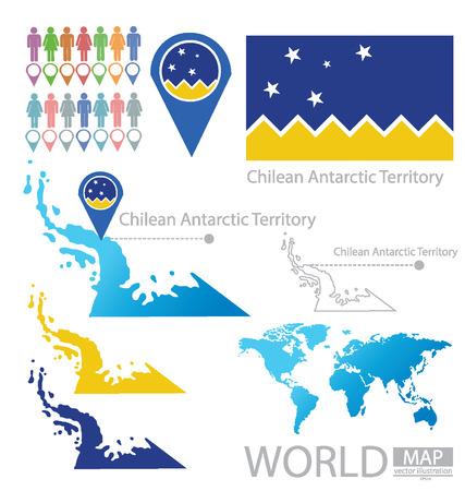 antarctic: Chilean Antarctic Territory vector Illustration Illustration
