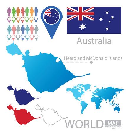 heard: Heard and Islands, Australia, vector Illustration