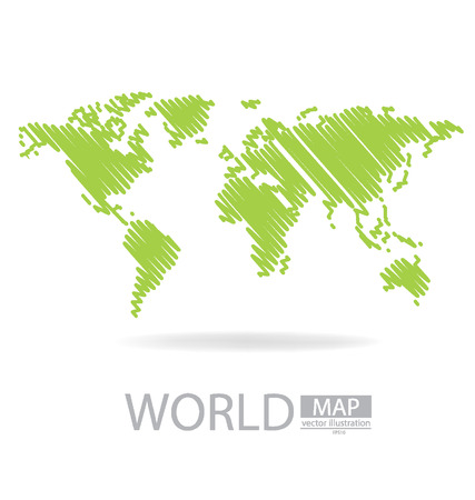 Sketch, World Map vector Illustration Banco de Imagens - 24933414