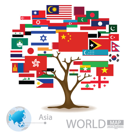Tree design, Countries in Asia, flag, World Map vector Illustration Vector