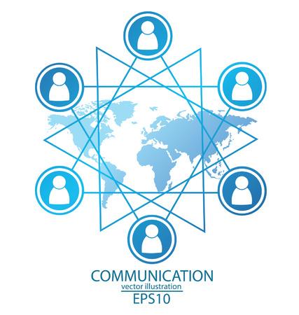reciever: communication concept, connection vector Illustration