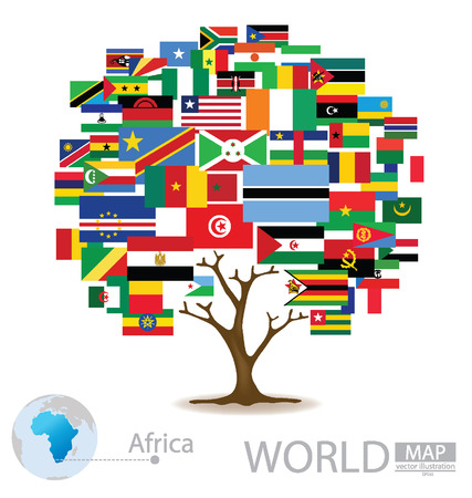 Tree design, Countries in Africa, flag, World Map vector Illustration Vector