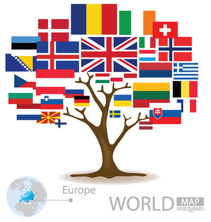Tree design, Countries in Europe, flag, World, Map vector Illustration Vector
