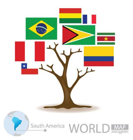 port of spain: Tree design, Countries in South america, flag, World, Map vector Illustration