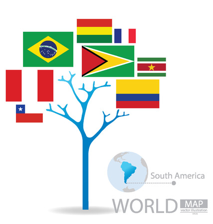 georgetown: Tree design, Countries in South america, flag, World, Map vector Illustration