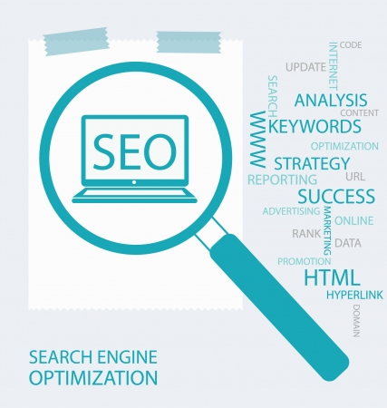 keywords advertise: search engine optimization vector Illustration