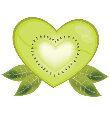garden stuff: Kiwi heart vector illustration