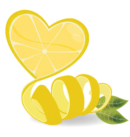 Shape of heart, love lemons vector illustration Vector