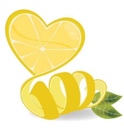 Shape of heart, love lemons vector illustration
