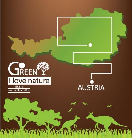 Australia map, Save world, Green concept vector illustration Vector