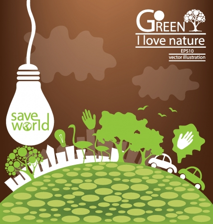 save the earth: Save world, Green concept vector illustration