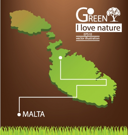 malta map: Malta map, Save world, Green concept vector illustration
