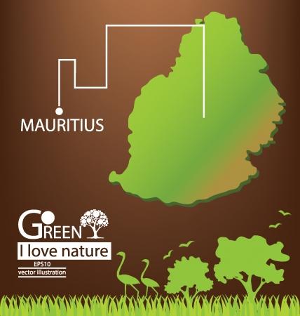 mauritius: Mauritius map, Save world, Green concept vector illustration