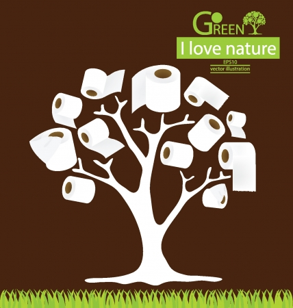 toilet paper art: toilet paper, tree vector illustration Illustration