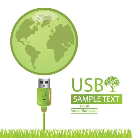 usb kabel: Usb-Kabel, Welt, gehen gr�n, retten Welt Vektor-Illustration