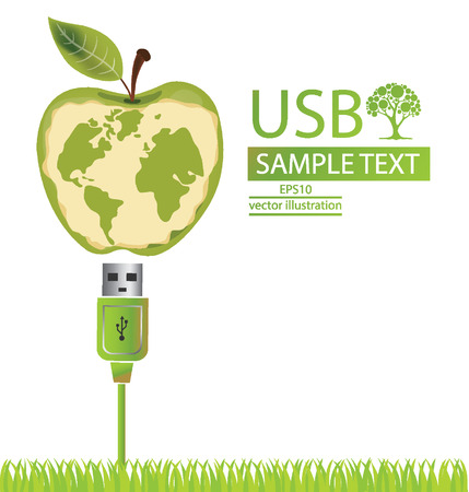 usb cable: Usb cable, Apple, Go green, Save world vector illustration