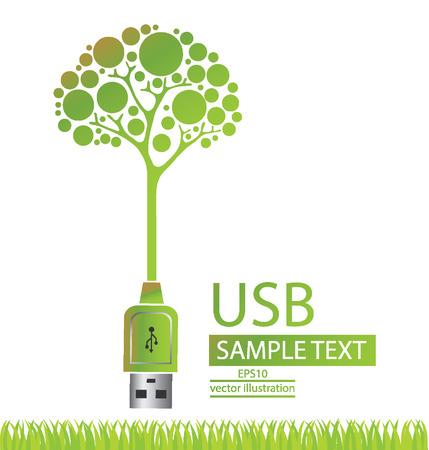 USB-кабель, зеленый концепции сохранения энергии, дерево векторные иллюстрации