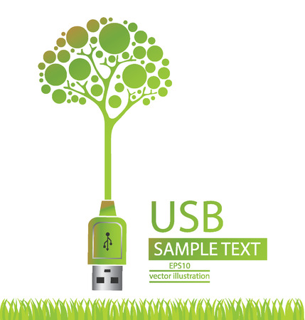 Usb cable, Green concepts save energy, tree vector illustration Illustration