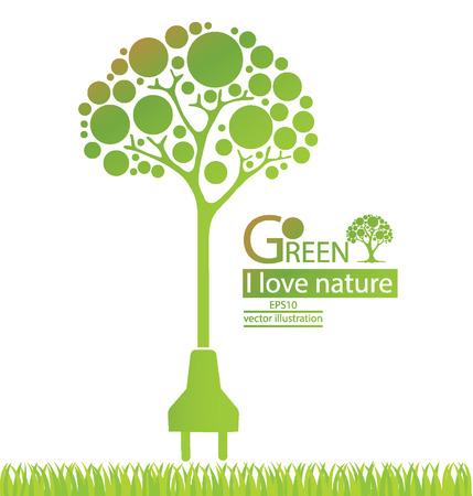 Вилка, Зеленый концепции сохранения энергии, дерево векторные иллюстрации