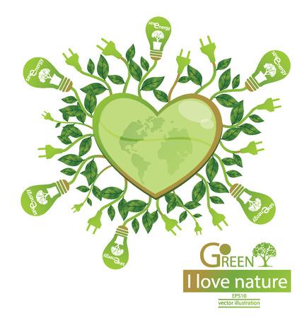 Зеленые понятия экономить энергию, дерево векторные иллюстрации