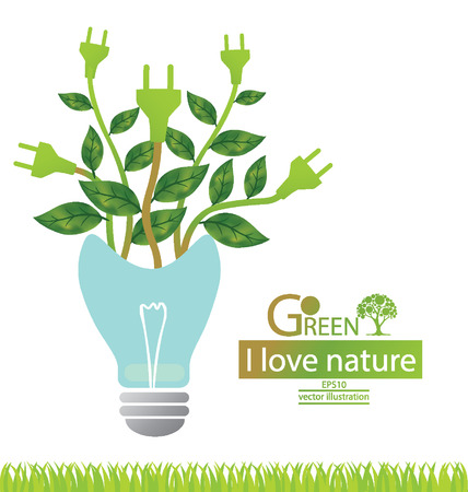 save electricity: Green concepts save energy, save world vector illustration
