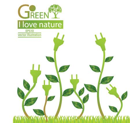 ahorro energia: Plug, conceptos verdes ahorran energ�a, ilustraci�n del vector del �rbol Vectores