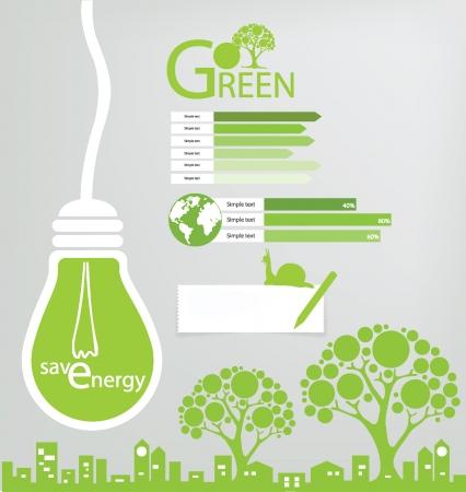 eficiencia energetica: Go Green, Save ilustración vectorial mundo
