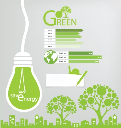 energy save: Go green, Save world  vector illustration Illustration