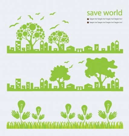 Go Green, Save мир векторные иллюстрации