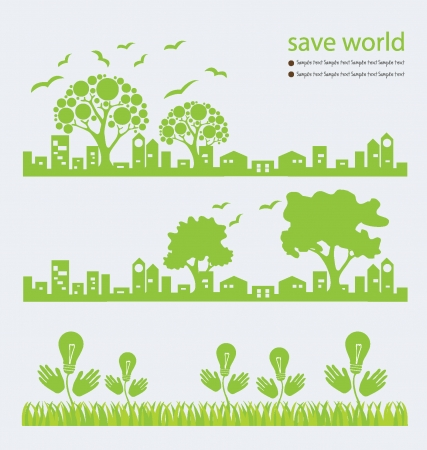 save the planet: Go green, Save world vector illustration