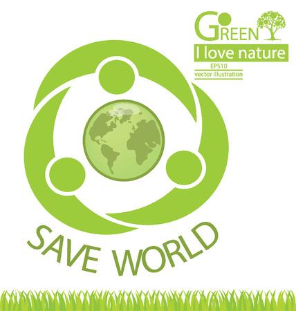 chap: Go green, Save world vector illustration
